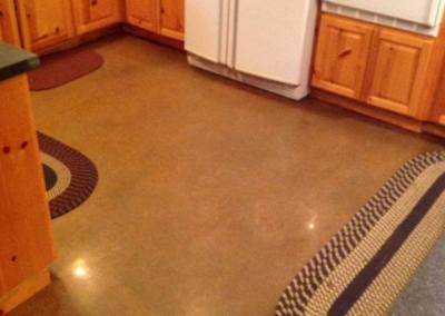 Residential polished concrete with stained faux finish