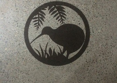 Custom stencil on concrete