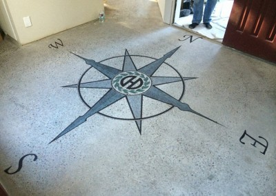 Custom logo stencil on concrete