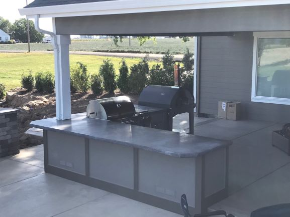 Custom concrete countertop outdoor patio